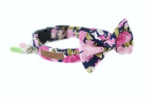 Pink Flowers Dog Collar Bow Tie Floral Collar for Girls: XS/S/M/L/XL/2XL sizes