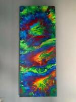 "ABSTRACT CANVAS ART Original Acrylic Painting Bright Modern ARTWORK 40"" X 16"""