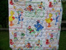 New ListingSesame Street Full Quilted Bed Spread Sports Big Bird Cookie Monster Oscar Bert