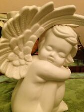 Bisque Porcelain Cherub Baby Angel Guardian Angel Taper Candle Holder