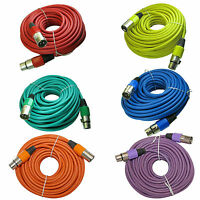 6 mixed color 50 ft foot 15m meter xlr male to female mic microphone snake cable