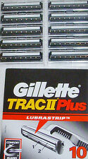 10 Gillette Trac II Plus Razor Blade Replacement Cartridges