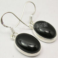 925 Sterling Silver Classic OVAL CABOCHON BLACK ONYX STUNNING Earrings 1.2 Inch