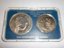 "- INDIA -  2 COIN DEVELOPMENT ORIENTED SET - 1986  - "" FISHERIES "" - RS.100 & 20"