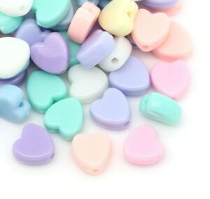 100 Pastel Heart Beads Acrylic 8mm Mixed Colours  Childrens Beads J28568V