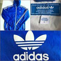 Vintage Adidas Mens Blue Hooded Nylon Windbreaker Rain Jacket Stripes Size Large