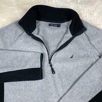 Nautica Fleece Shirt Gray Black Long Sleeve Pullover 1/4 Zip Neck Men's Large