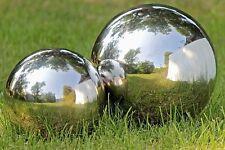 Gartenkugel Set poliert 18 und 27 cm aus Edelstahl Silber Kugel Dekokugel Neu