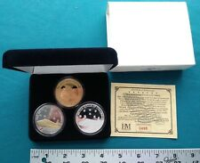 Seven Souls of COLUMBIA Medal Set 3 1 ozt. .999 SILVER/layered in 24k Gold #1042