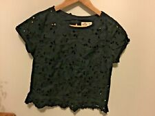 Ladies Hollister Navy Blue broderie anglaise short sleeved top Size XS