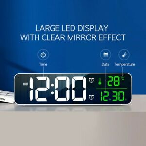LED Digital Alarm Clock Electronic USB Desktop Mirror Clocks Home Bedroom Decor