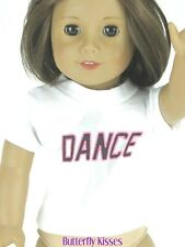 White Dance T-Shirt 18 in Doll Clothes Fits American Girl Dolls