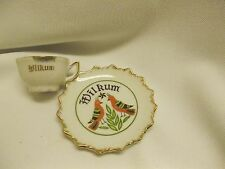 vintage demitasse LEGO china Wilkum 2 birds Dutch ? German ? tea cup & saucer
