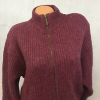 LL Bean Cardigan Sweater Women's Large 100% Wool Full Zip Front Vintage Made USA