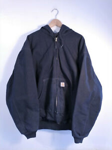 CARHARTT   Mens Black Duck Canvas Quilted Flannel Lined Bomber Active Jacket 3XL