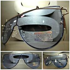 New SPACE ROBOT FUTURISTIC CYBER CYCLOPS SHIELD PARTY SUN GLASSES Blue Flat Lens