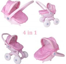 Pink Push Along 4 In 1 Pram First Doll Buggy Cot Seat Toddler Girl Gift Toy
