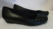 YUU Womens Black Ballet Flat Slip On Renner Low Wedge Shoes Sx 8.5