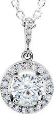 Forever One MOISSANITE halo-style & Diamant 45.7cm Collier en 14k Or Blanc