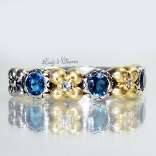 Barbara Bixby London Blue Topaz Flower Sterling Silver 18k Gold Ring Size 7
