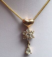 pendentif chaîne plaqué or bijou rétro vintage relief zirconium diamant *