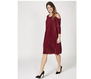 Nina Leonard 3/4 Sleeve Cold Shoulder Pleat Dress Bordeaux Size Large Brand New