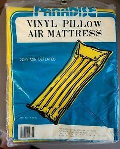 Vintage yellow Paradise Vinyl Pillow Air Mattress item 12-7772  (sealed)