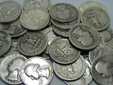 1932-1964 Washington Quarters 90% Silver Circulated - 25 Coins