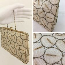VINTAGE Purse Satin Beaded Evening Cream Ivory Clutch Bag Small Chain Strap