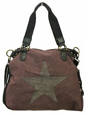STERN DAMEN TASCHE STAR CANVAS FASHION SHOPPER SCHULTERTASCHE LEDER APPLIKATION