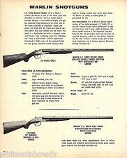 1973 MARLIN L.C. Smith Deluxe & Field Grade Double Barrel SHOTGUN Print AD