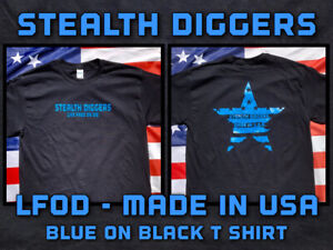 Stealth Diggers made in the USA black t shirt live free or die metal detecting