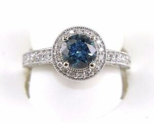 Natural Round Blue Diamond Solitaire Engagement Ring 18k White Gold 2.80Ct