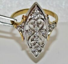 Victorian 9ct Yellow Gold on Silver Paste Set Marquise Cluster Ring size P