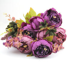 Artificial Bouquet 10 Head Peony Silk Flower Fake Leaf Home Wedding Party Decor Purple