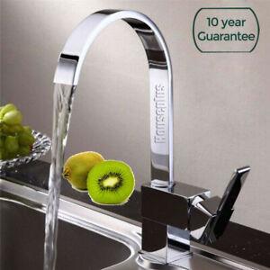 Waterfall Modern Mono Kitchen Mixer Tap Spray Chrome Hot & Cold Sink Faucet Taps