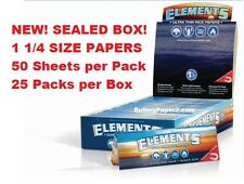 NEW! Sealed BOX of 25 packs ELEMENTS 1 1/4 1.25 Ultra Thin Rice Rolling papers