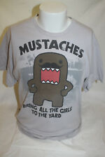 Domo Mustaches Bring All the Girls to the Yard Gray T Shirt Size Large