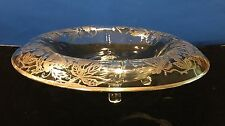 Vintage Console Footed Bowl With Silver Deposit