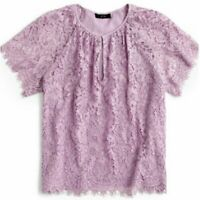 NEW J. CREW Short Sleeve Floral Lace Top Purple Lilac Cutout PETITE SMALL SP PS