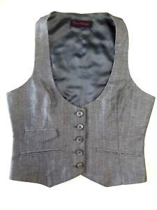 Ladies waistcoat Miss Selfridge Size 8 Silvery Grey Striped Good Christmas VR2