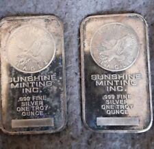 More details for sunshine minting inc 1 oz silver bar. x2 bars, need attention