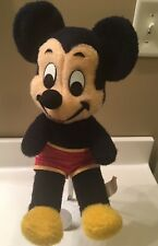 Vintage Mickey Mouse Plush Stuffed Animal Walt Disney Wired Ears Red Shorts