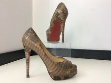 Christian Louboutin Python Skin Brown Shoes Heels Lady Peep Size 38.5 Uk 5.5 Vgc