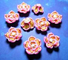 New 20 Fimo Polymer Clay Flower Rose Pink White 25mm Multicolors Beads