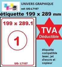 Feuilles A4 de 1 étiquette autocollante 199.6 x 289.1 mm pour imprimante LR7167