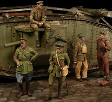1/35 scale resin model figures kit WW1 British Tank crew big set (5 figures)