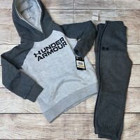 Under Armour 2T 3T 4T Gray Dark Gray Hoodie Joggers Outfit Set NEW
