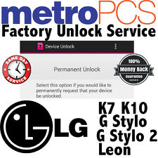 METROPCS FACTORY UNLOCK SERVICE CODE APP FOR METRO LG K7 K10 G STYLO & 2 LEON