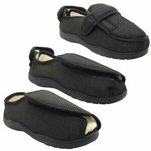 Mens Womens Diabetic Slippers Orthopaedic Memory Foam Wide EASY Fitting Shoes